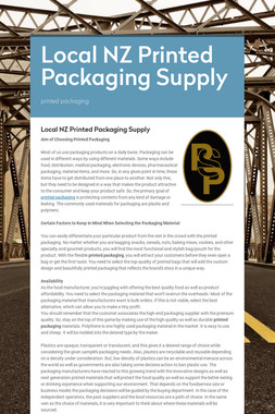 Local NZ Printed Packaging Supply