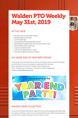Walden PTO Weekly May 31st, 2019