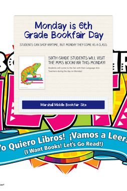 Monday is 6th Grade Bookfair Day