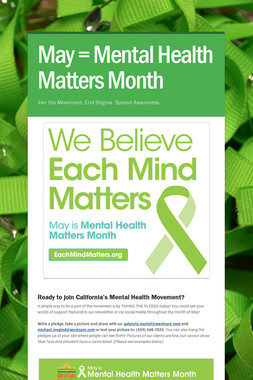 May = Mental Health Matters Month