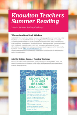Knowlton Teachers Summer Reading