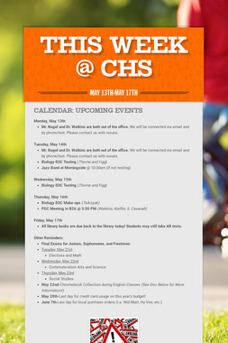 This Week @ CHS