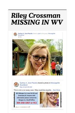 Riley Crossman MISSING IN WV