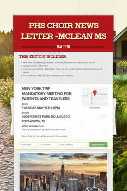 PHS Choir News Letter -McLean MS