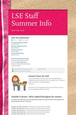 LSE Staff Summer Info