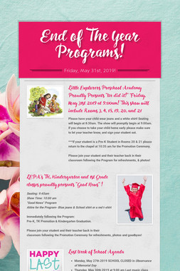 End of The Year Programs!