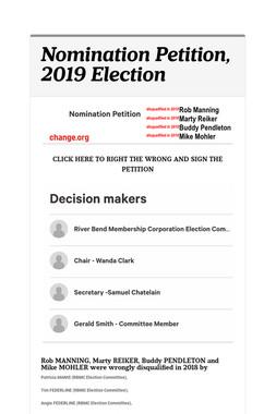 Nomination Petition, 2019 Election
