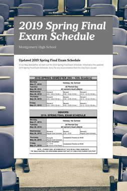 2019 Spring  Final Exam Schedule