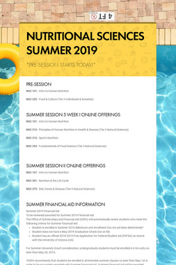 NUTRITIONAL SCIENCES SUMMER 2019