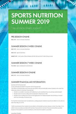 SPORTS NUTRITION SUMMER 2019