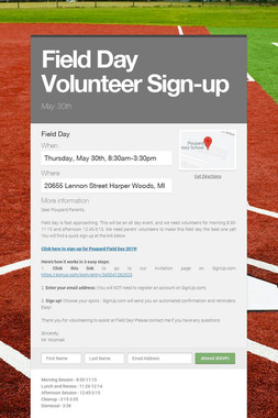 Field Day Volunteer Sign-up