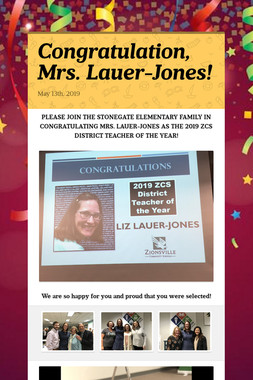 Congratulations, Mrs. Lauer-Jones!