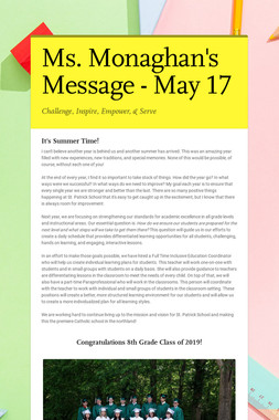 Ms. Monaghan's Message - May 17