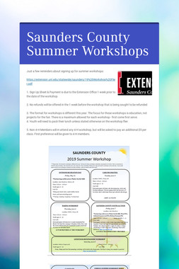 Saunders County Summer Workshops