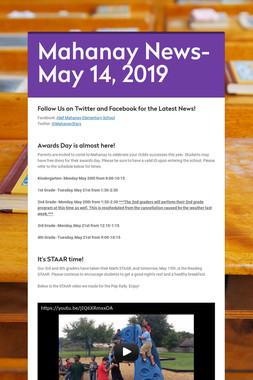 Mahanay News- May 14, 2019