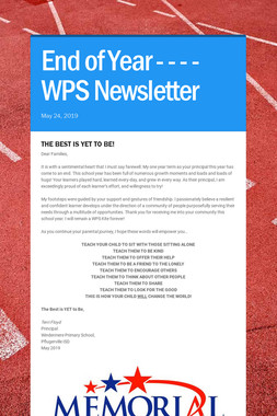 End of Year - - - -  WPS Newsletter