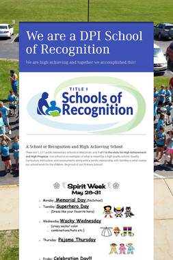 We are a DPI School of Recognition