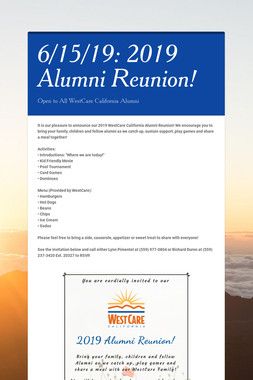 6/15/19: 2019 Alumni Reunion!