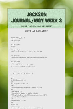 JACKSON JOURNAL/MAY WEEK 3