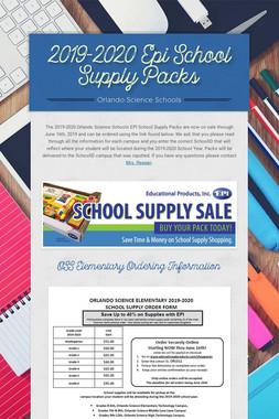 2019-2020 Epi School Supply Packs