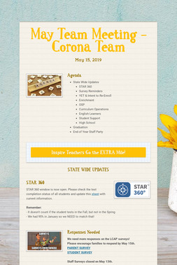 May Team Meeting - Corona Team