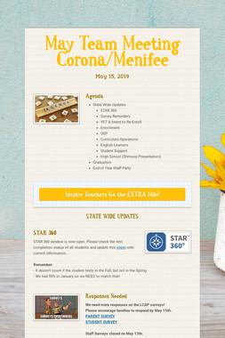 May Team Meeting Corona/Menifee