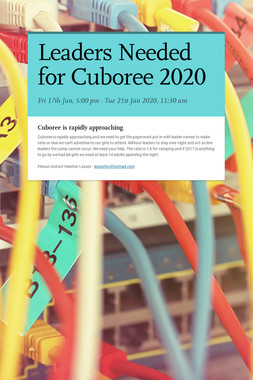Leaders Needed for Cuboree 2020