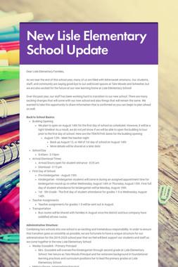 New Lisle Elementary School Update