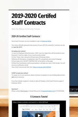 2019-2020 Certifed Staff Contracts