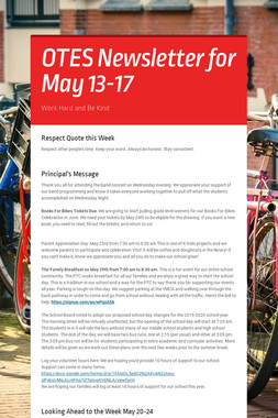 OTES Newsletter for May 13-17