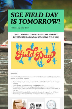 SGE FIELD DAY IS TOMORROW!