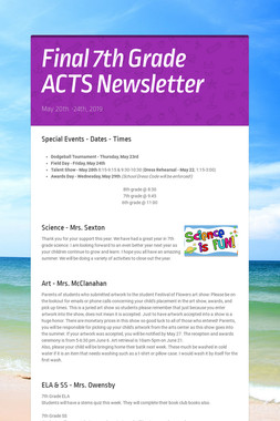 Final 7th Grade ACTS Newsletter