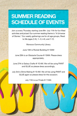 SUMMER READING SCHEDULE OF EVENTS