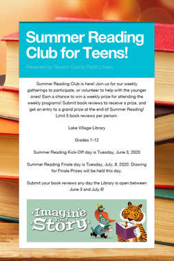 Summer Reading Club for Teens!