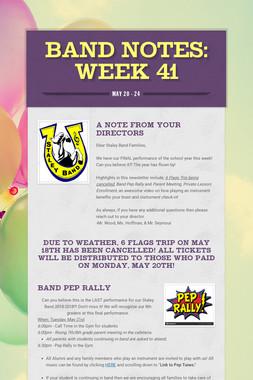 Band Notes: Week 41