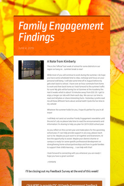 Family Engagement Findings