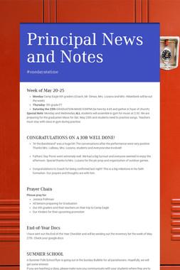 Principal News and Notes