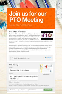 Join us for our PTO Meeting
