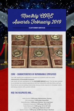 Monthly CORE Awards February 2019