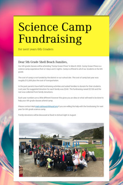 Science Camp Fundraising