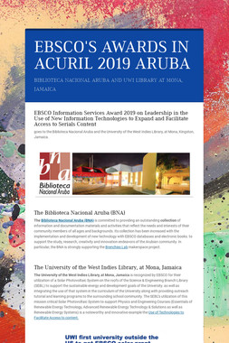 EBSCO'S AWARDS IN ACURIL 2019 ARUBA