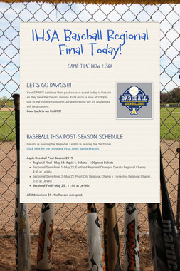 IHSA Baseball Regional Final Today!