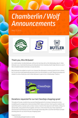 Chamberlin / Wolf Announcements