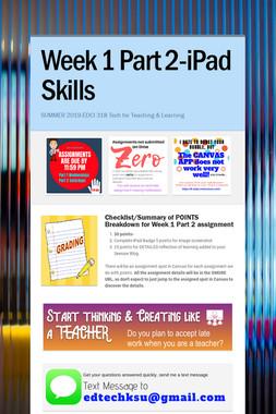Week 1 Part 2-iPad Skills