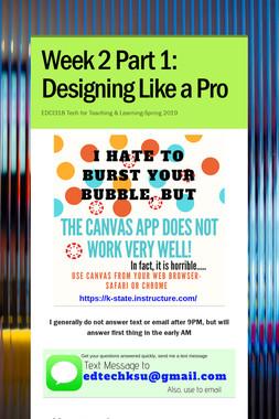 Week 2 Part 1: Designing Like a Pro