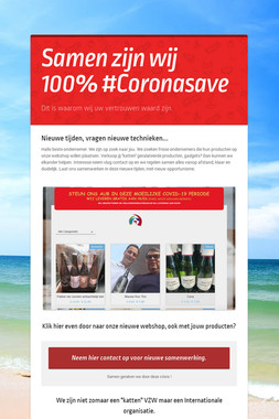 Samen zijn wij 100% #Coronasave