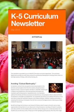 K-5 Curriculum Newsletter