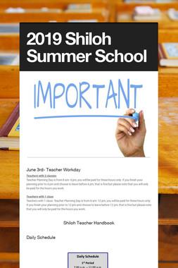 2019 Shiloh Summer School