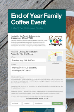 End of Year Family Coffee Event