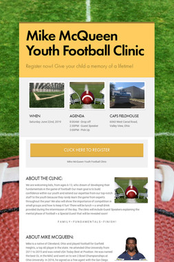 Mike McQueen Youth Football Clinic